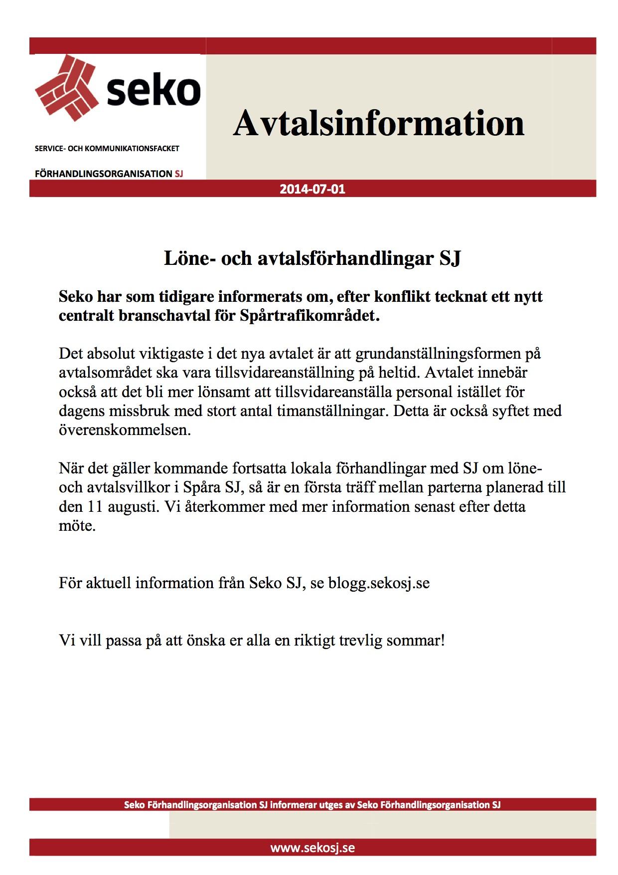 SEKO SJ Info Avtalsinformation den 1 juli 2014