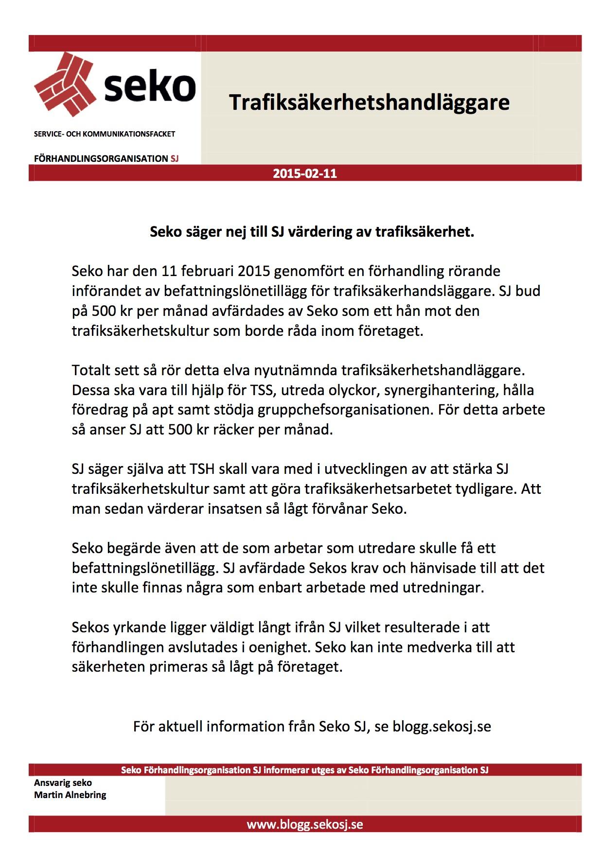 Seko SJ info Befattningslönetillägg Trafiksäkerhetshandläggare